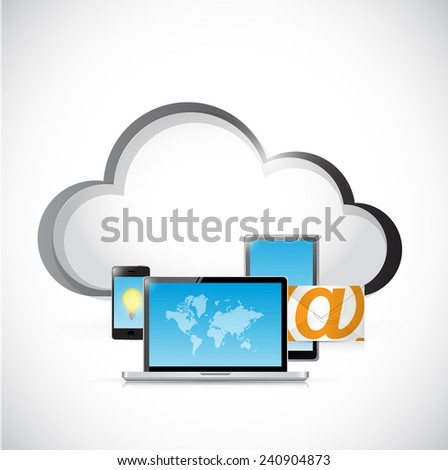 technology electronics and cloud illustration design over a white background - stock photo