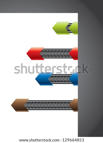 Technology elements on paper corner in various colors - stock photo
