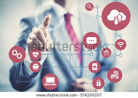 Technology future network architecture concept image of devices. - stock photo