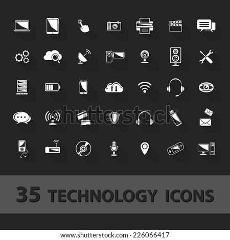 Technology icons set:cloud, storage, communications, telephone, antenna, camera, tablet,computer, headphones, console, wireless... - stock photo