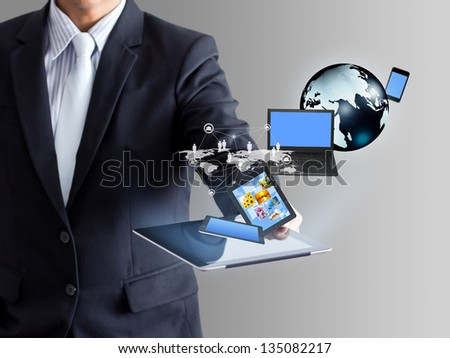 Technology in business hand - stock photo