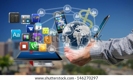 Technology in the hands of businessmen ,Creative Business - stock photo