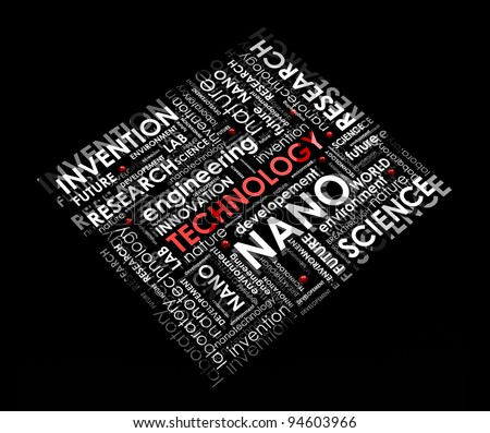 technology info-text (cloud), illustration with different scientific research terms on black background - stock photo