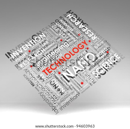 technology info-text (cloud), illustration with  scientific research terms on gray background - stock photo