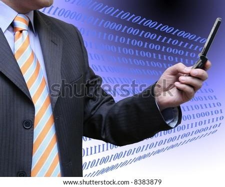 Technology interaction - stock photo