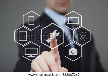 technology, internet and networking concept - businessman pressing technical support button on virtual screens - stock photo