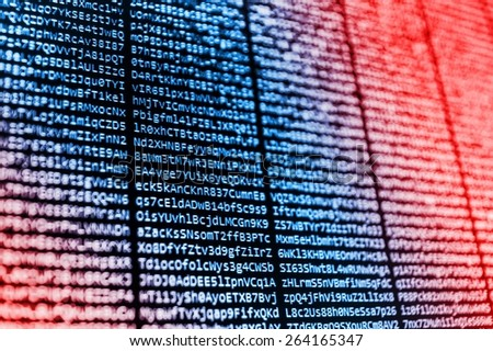 Technology modern screen. Abstract data bits stream background. Digital cyber pattern. Selective depth of field focus. Blue and red background color.  - stock photo