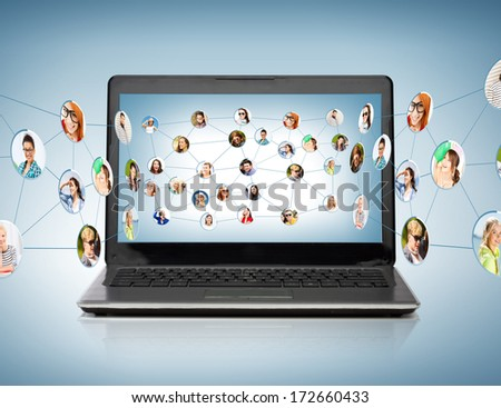technology, networking and communication concept - laptop computer with social network on screen - stock photo
