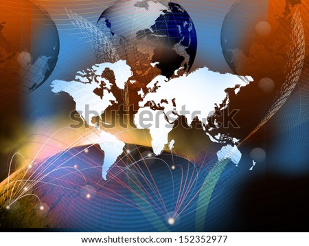 technology of telecommunication created world business network theme - stock photo