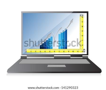 technology Tape measure bar graph concept illustration design over white - stock photo