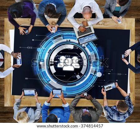 Technology Team People Hud Teamwork Concept - stock photo