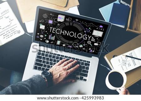 Technology Tech Digital Evolution Internet Data Concept - stock photo