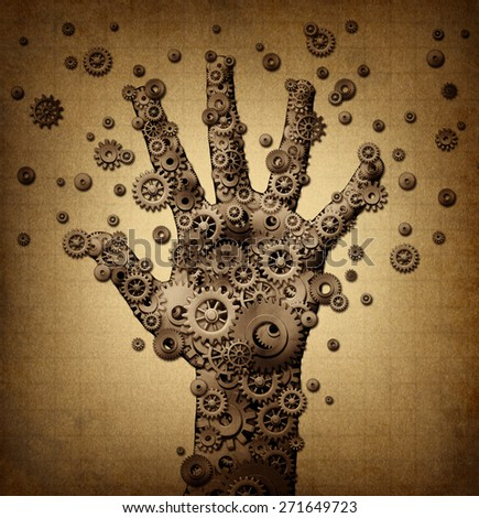 Technology touch concept and robotics or robot symbol as a group of mechanical gears and gog machine wheels shaped as a human hand as a metaphor for bionic engineering or artificial intelligence. - stock photo