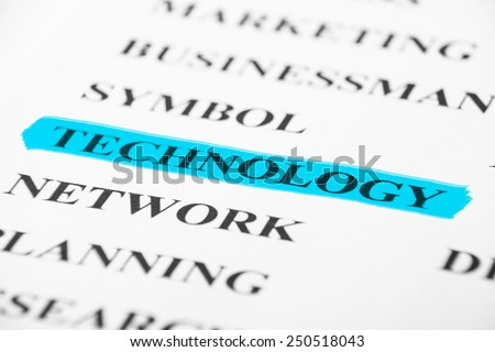Technology with some other related words on paper. - stock photo