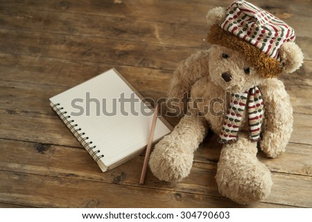 Teddy bear alone sit in road ,sad concept - stock photo