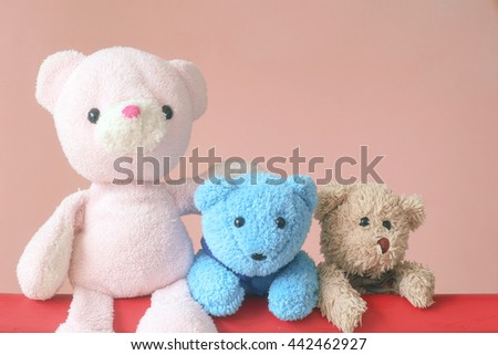 teddy bear and the gang - stock photo