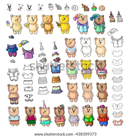 teddy Bear big set. Beautiful colored illustration. You can paint it yourself and make different combination of teddy bear.  Easy to change clothes! Cheerful wardrobe.  - stock photo