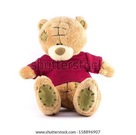 TEDDY BEAR brown color with red shirt on white background - stock photo