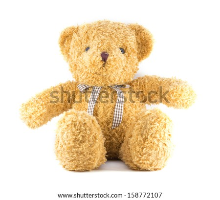 TEDDY BEAR brown color with ribbon on white background - stock photo