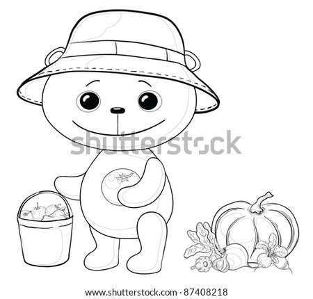 teddy bear gardener with a crop of vegetables, contours - stock photo
