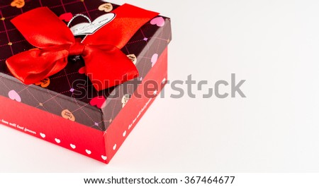 Teddy bear gift box Valentines Day. Studio shot on a white background with copy space - stock photo