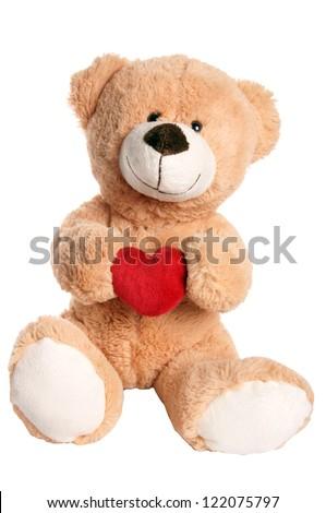 Teddy Bear holding a heart / Teddy Bear - stock photo