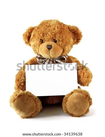 teddy bear holding clear card for you inscription - stock photo