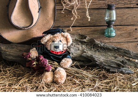 teddy bear holding dry roses with graduation gown in barn background, congratulations concept - stock photo