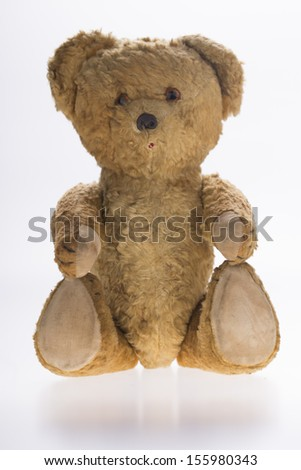 teddy bear in front of white background - stock photo