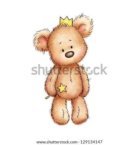 teddy bear in the crown on white background - stock photo