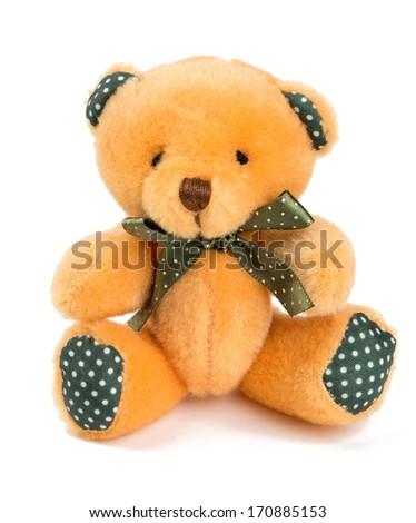 teddy bear isolated on white - stock photo