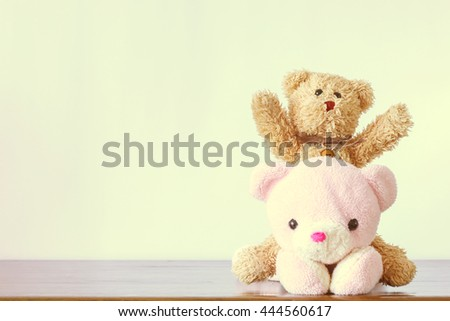 Teddy bear on vintage - stock photo