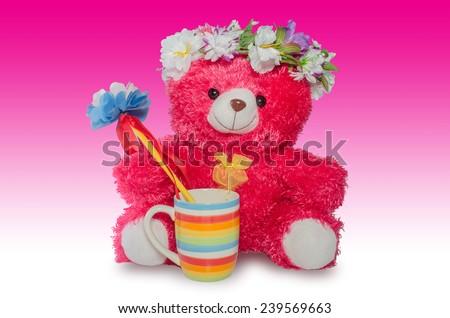 teddy bear on white backgroud - stock photo
