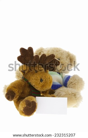 Teddy Bear reindeer Gift on pure white background - stock photo