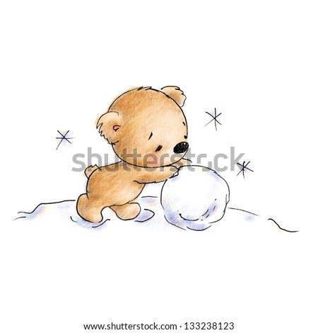 teddy bear rolling snowball - stock photo