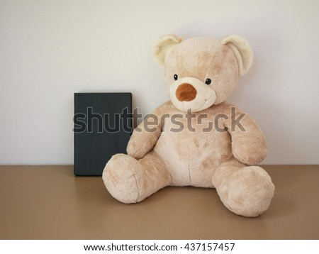 Teddy Bear toy with book  - stock photo