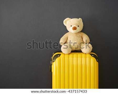 Teddy Bear toy with travel luggage  - stock photo