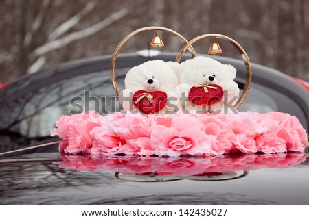 Teddy bear wedding couple - stock photo