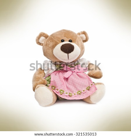 Teddy bear with clothes - stock photo