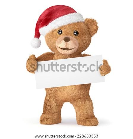 Teddy bear with empty card - stock photo