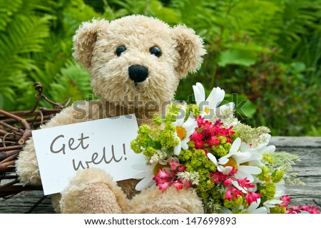 teddy bear with flowers and card with lettering get well/get well/teddy - stock photo