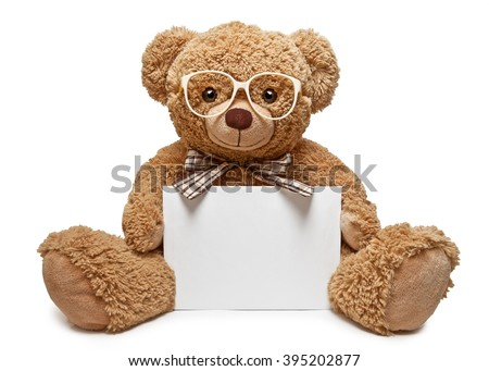 Teddy bear with glasses holding a blank banner - stock photo