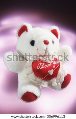 Teddy Bear with Love Heart - stock photo