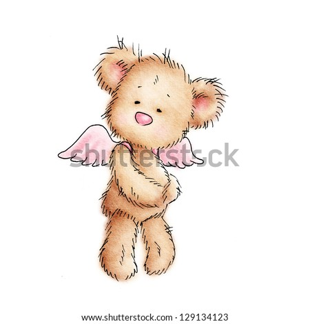 teddy bear with pink wings on white background - stock photo