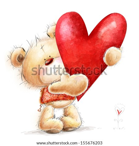 Teddy bear with the big red heart.Childish illustration in sweet colors.Background with bear and heart. Hand drawn teddy bear isolated on white background.Valentines greeting card. Love design.Love. - stock photo