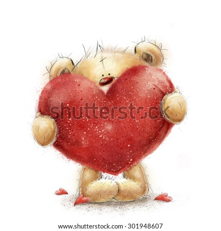 Teddy bear with the big red heart.Valentines greeting card. Love design.Love.I love You card. Love poster. Valentines day poster. Cute teddy bear holding big red heart. Marry me. Be my wife.Love heart - stock photo