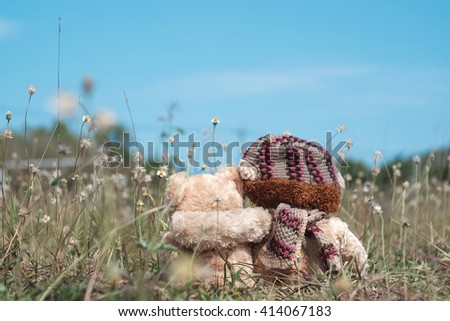 Teddy bears sitting on the beautiful meadow with love. Concept about love and relationship - stock photo