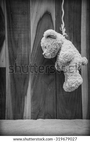 Teddy suicide - stock photo