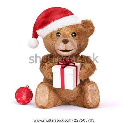 Teddy with a Christmas, isolated - stock photo