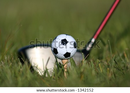Tee it up on the pitch! - stock photo